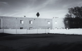 Tempe empty lot, apartments bw