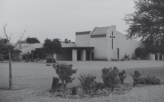 Desert church black white 2