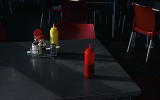 Condiments left on table s