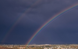 Rainbow over Tempe on a rainy winter day s
