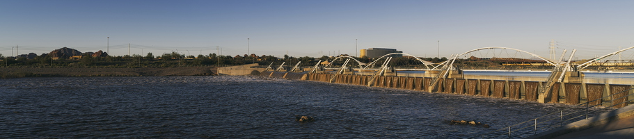 Tempe Town Lake Dam Flood Panorama 3k