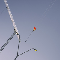 Two Tower Cranes with Streetlight at Noon 02-1