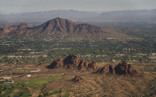 Phoenix Camelback Tempe Papago from plane