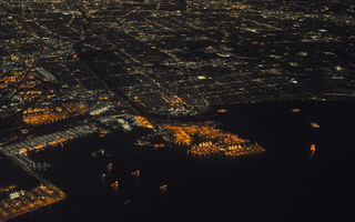 Los Angeles barbor night vessels from plane 01
