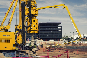 Tempe New City Construction Blount Contracting Bauer BG 30 Mardian Concrete Pumping