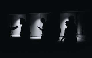 Tempe ASU Night Three Doors Spotlights People Silhouette Act I