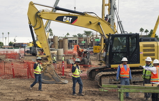 Tempe December Construction Blount Cranes CAT Drill Mardian Concrete Workers