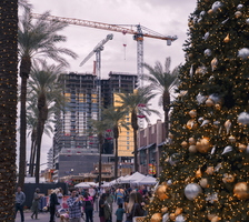 Tempe Festival of the Arts Winter 2019 Christmas Tree Construction Cranes b