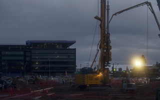 Tempe December Sunrise Construction Workers Blount Drilling Spotlight Artificial Sun