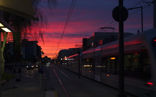 Tempe December Sunrise Light Rail ASU Rural EB