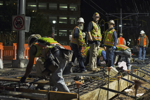 Tempe Streetcar Construction Stacy Witbeck Workers Night Railway Frog 15