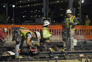 Tempe Streetcar Construction Stacy Witbeck Workers Night Railway Frog 11