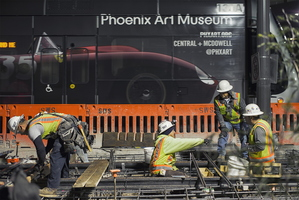 Tempe Streetcar Construction Stacy Witbeck Workers Night Railway Frog Phoenix Art Museum
