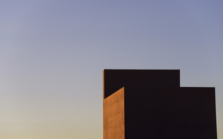 Tempe Winter ASU Art Museum from Rooftop Abstracted Halfdome Sunset