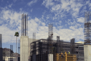 Downtown Tempe A New City Construction Workers Pillars Palm Tree