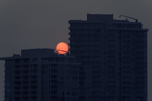 Wildfire Sun over Downtown Tempe Highrise