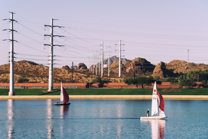 Almost December in Tempe Town Lake Power Lines Sailboats